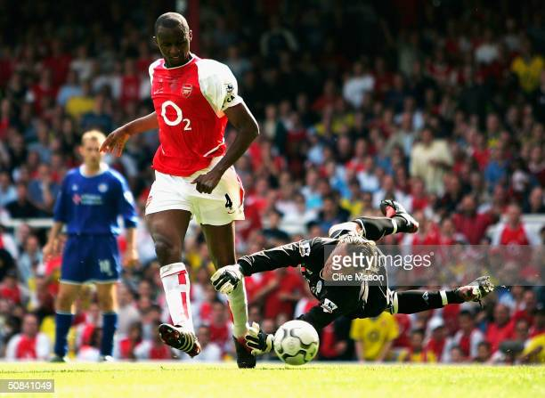 Patrick Vieira of Arsenal scores their second goal during the FA Barclaycard Premiership match between Arsenal and Leicester City at Highbury on May...