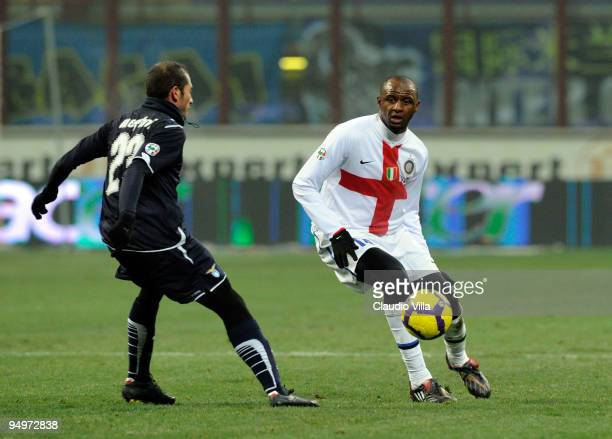 Patrick Vieira of FC Internazionale Milano competes for the ball with Stephan Lichtsteiner and Mourad Meghni of SS Lazio during the Serie A match...