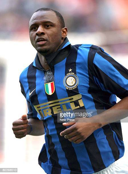 Patrick Vieira of Inter celebrates a goal during the Serie A match between Inter and Palermo at the Stadio Meazza San Siro on March 16 2008 in Milano...