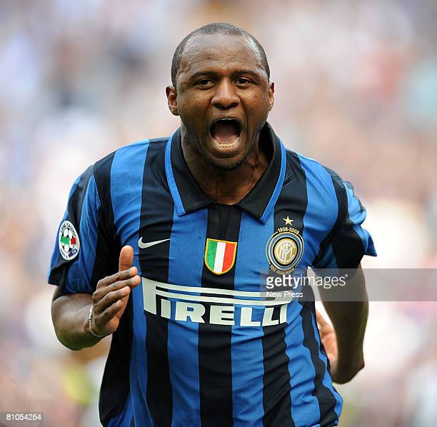 Patrick Vieira of Inter celebrates after scoring during the Serie A match between Inter and Siena at the Stadio San Siro on May 11 2008 in Milan Italy