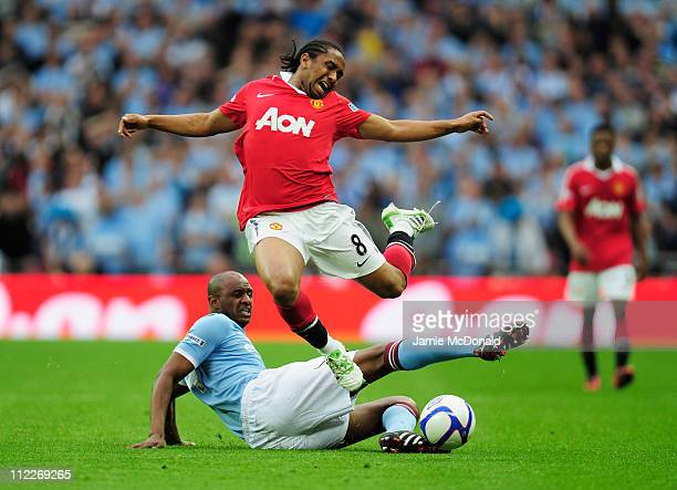 Patrick Vieira of Manchester City tackles Anderson of Manchester United during the FA Cup sponsored by EON semi final match between Manchester City...