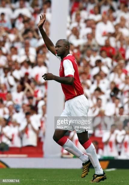 Patrick Vieira returns to Arsenal as he plays in the Dennis Bergkamp Testimonial match against Ajax at Emirates Stadium London