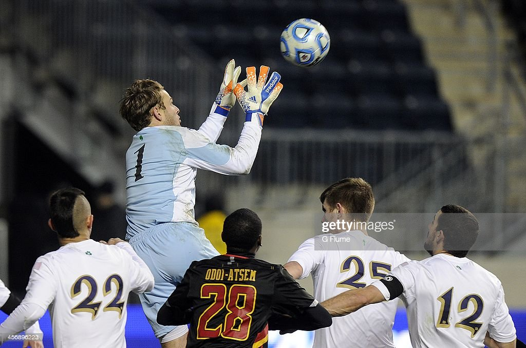 Patrick Wall #1 of the Notre Dame Fighting Irish makes a save in the second half against the Maryland Terrapins during the 2013 NCAA Men's College Cup at PPL Park on December 15, 2013 in Chester, Pennsylvania. Notre Dame won the championship 2-1.
