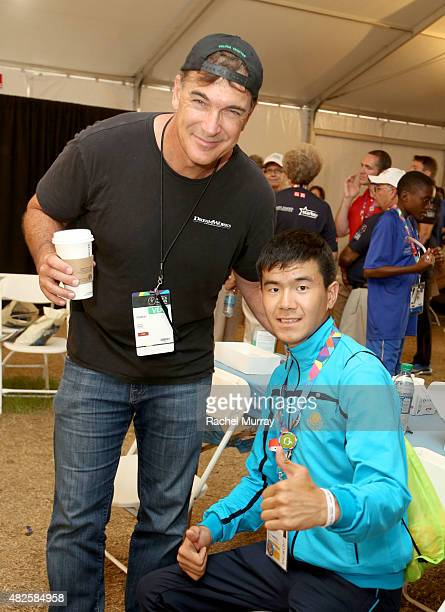 Patrick Warburton visits Special Olympics Athletes at The Starkey Hearing Foundation Healthy Hearing Clinic at USC on July 31 2015 in Los Angeles...