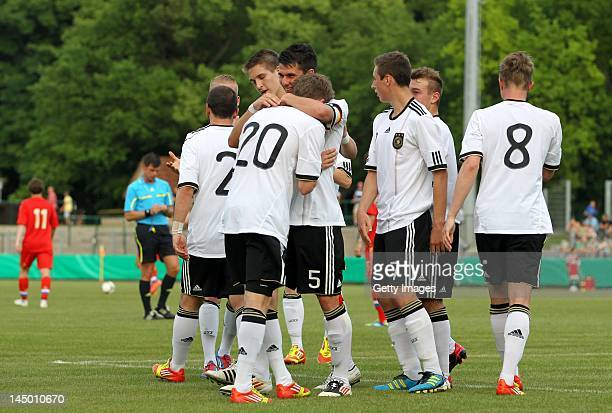 Patrick Weihrauch and teammates of Germany celebrates after scoring a goal to make it 21 during the International Friendly match between Germany and...