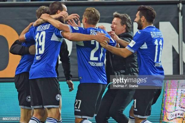 Patrick Weihrauch Manuel Prietl Konstantin Kerschbaumer coach Jeff Saibene and Stephan Salger of Bielefeld celebrate their teams second goal during...