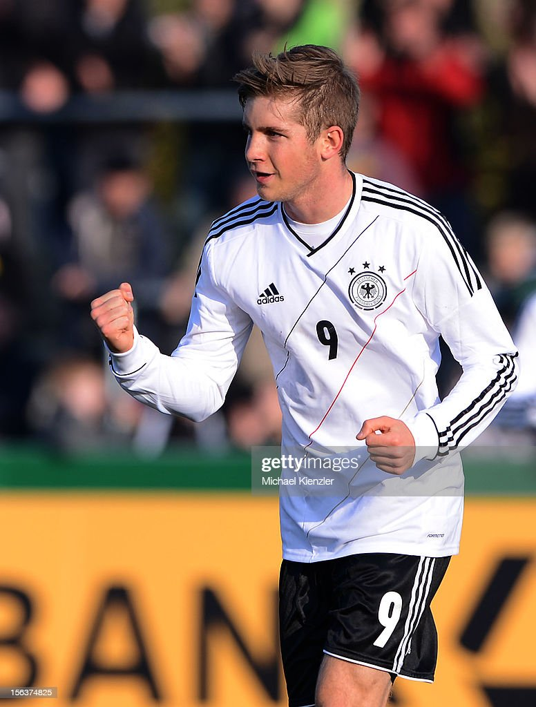 Patrick Weihrauch of Germany celebrates scoring the opening goal during the International Friendly match between U19 Germany and U19 France at Rheinstadium on November 14, 2012 in Kehl, Germany.