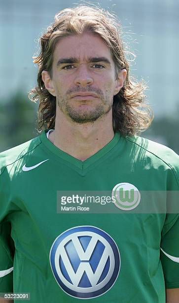 Patrick Weiser poses during the team presentation of VFL Wolfsburg for the Bundesliga Season 2005 2006 on July 10 2005 in Wolfsburg Germany