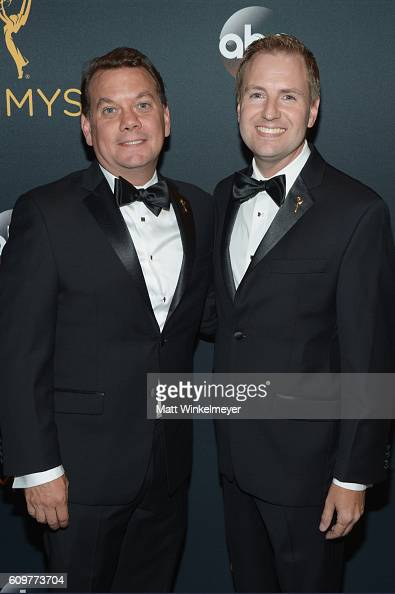 Patrick Welborn and Television Academy President and COO Maury McIntyre attend the 68th Annual Primetime Emmy Awards at Microsoft Theater on...