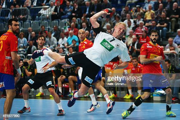 Patrick Wiencek of Germany scores a goal during the European Handball Championship 2016 Qualifier match between Germany and Spain at SAP Arena on...
