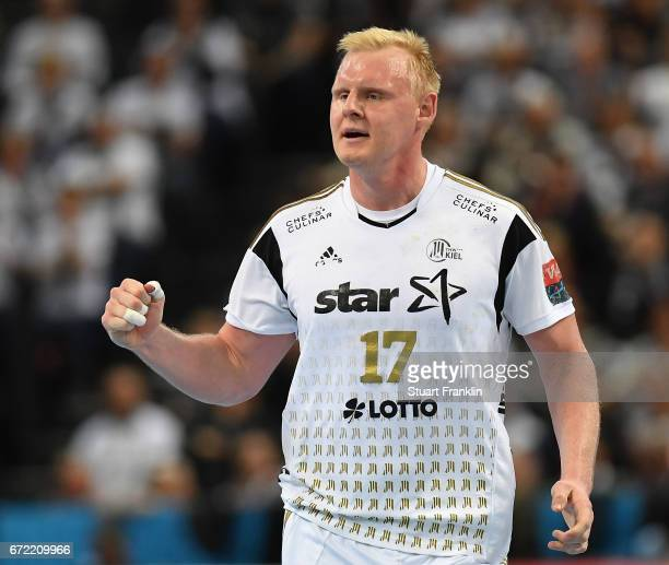Patrick Wiencek of Kiel celebrates during the EHF Champions League Quarter Final first leg match between THW Kiel and Barcelona at the Sparkasse...