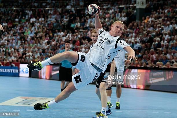 Patrick Wiencek of Kiel challengesin action during the DKB HBL Bundesliga match between THW Kiel and TBV Lemgo at Sparkassen Arena on June 5 2015 in...