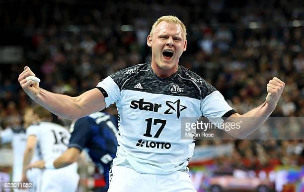 Patrick Wienczek of Kiel celebrates after the DKB HBL Bundesliga match between THW KIEl and SG FlensburgHandewitt at Sparkassen Arena on November 13...