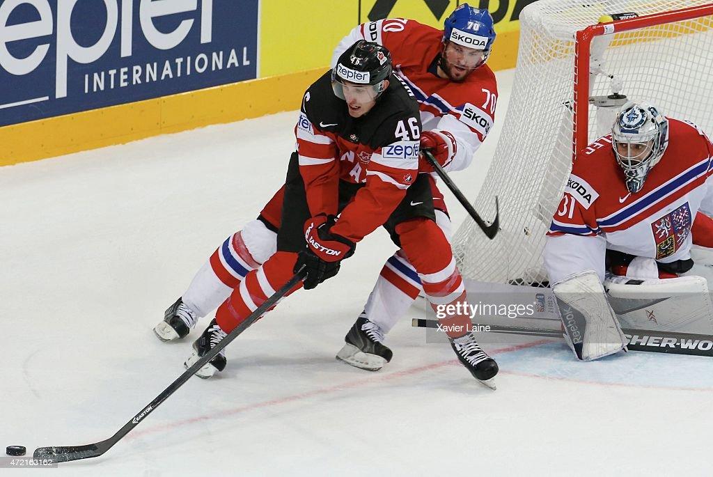Patrick Wiercioch of Canada and Radek Smolenak of Czech Republic during the 2015 IIHF World Championship between Canada and Czech Republic at O2...