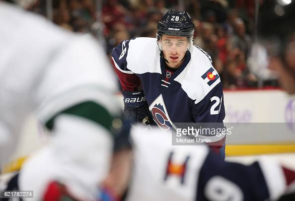 Patrick Wiercioch of the Colorado Avalanche awaits a faceoff against the Minnesota Wild at the Pepsi Center on November 5 2016 in Denver Colorado 'n