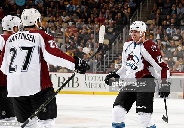 Patrick Wiercioch of the Colorado Avalanche celebrates his firstperiod goal during the game against Pittsburgh Penguins at PPG Paints Arena on...