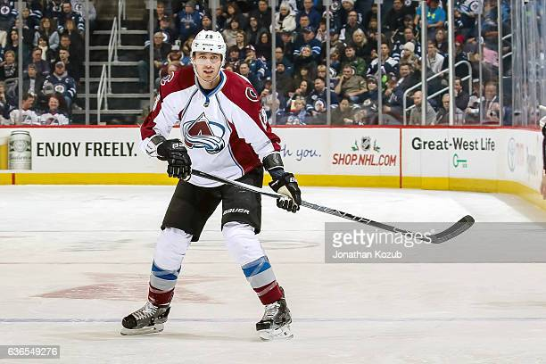 Patrick Wiercioch of the Colorado Avalanche keeps an eye on the play during first period action against the Winnipeg Jets at the MTS Centre on...