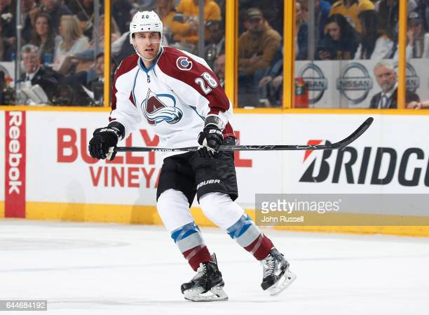 Patrick Wiercioch of the Colorado Avalanche skates against the Nashville Predators during an NHL game at Bridgestone Arena on February 23 2017 in...
