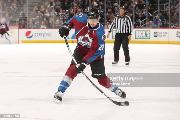 Patrick Wiercioch of the Colorado Avalanche takes a shot against the Winnipeg Jets at the Pepsi Center on February 4 2017 in Denver Colorado The...
