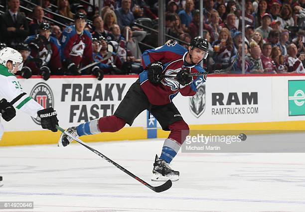 Patrick Wiercioch of the Colorado Avalanche takes a shot on goal against the Dallas Stars at the Pepsi Center on October 15 2016 in Denver Colorado