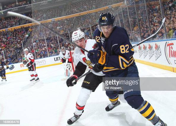Patrick Wiercioch of the Ottawa Senators battles for the puck with Marcus Foligno of the Buffalo Sabres on March 16 2013 at the First Niagara Center...
