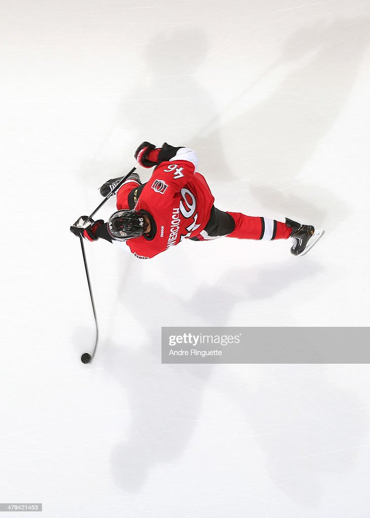 Patrick Wiercioch of the Ottawa Senators breaks his stick shooting the puck during warmup prior to a game against the New York Rangers at Canadian...