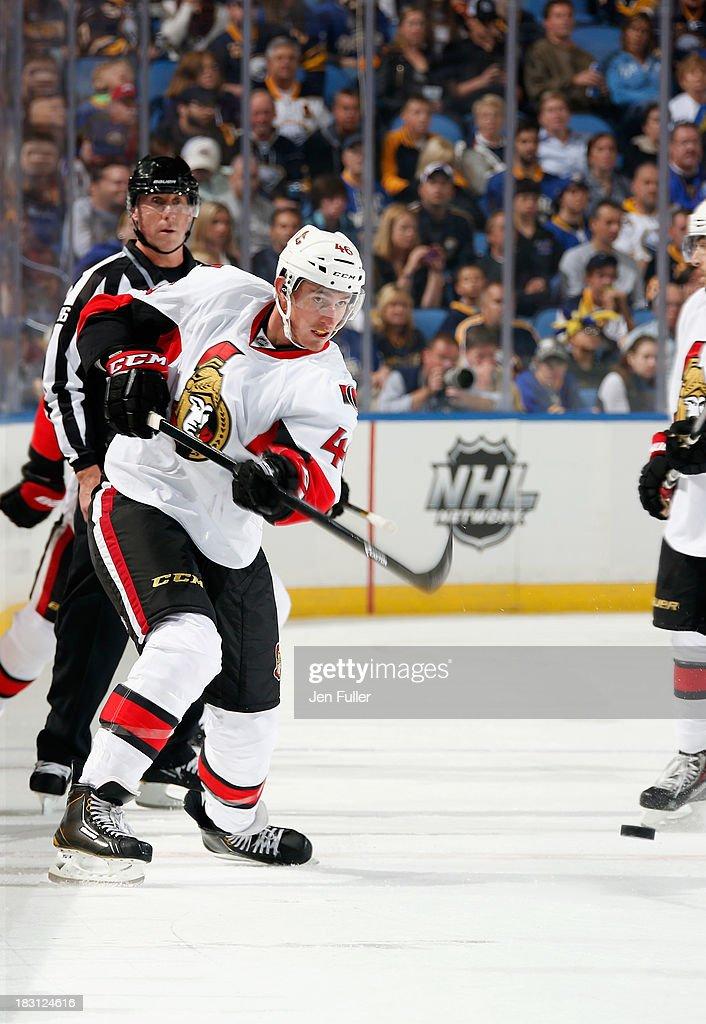 Patrick Wiercioch #46 of the Ottawa Senators fires a slapshot against the Buffalo Sabres at First Niagara Center on October 4, 2013 in Buffalo, New York.