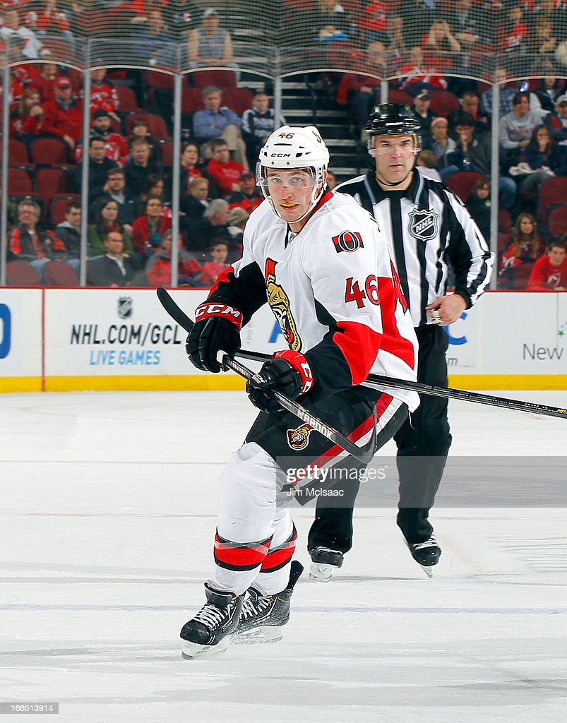 Patrick Wiercioch #46 of the Ottawa Senators in action against the New Jersey Devils at the Prudential Center on April 12, 2013 in Newark, New Jersey. The Senators defeated the Devils 2-0.