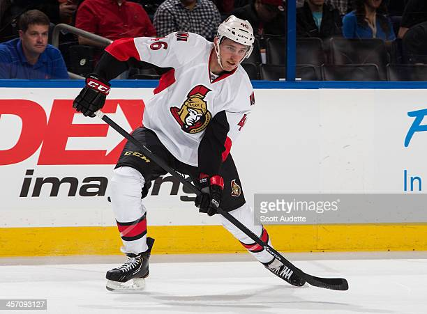 Patrick Wiercioch of the Ottawa Senators passes the puck against the Tampa Bay Lightning at the Tampa Bay Times Forum on December 5 2013 in Tampa...