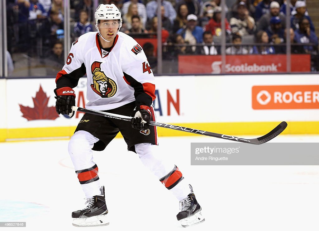 Patrick Wiercioch of the Ottawa Senators plays in the game against the Toronto Maple Leafs at the Air Canada Center on October 10 2015 in Toronto...