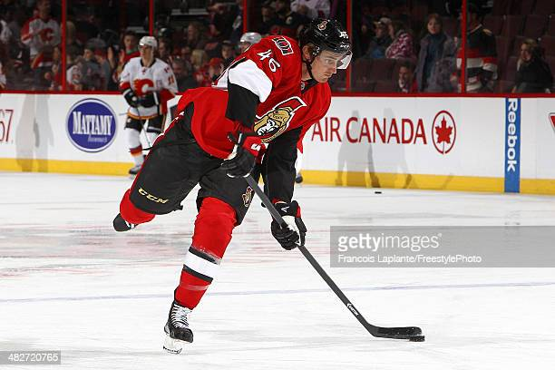 Patrick Wiercioch of the Ottawa Senators shoots the puck during warmup prior to their game against the Calgary Flames at Canadian Tire Centre on...