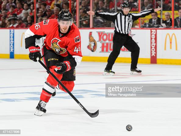 Patrick Wiercioch of the Ottawa Senators skates after the puck in Game Six of the Eastern Conference Quarterfinals against the Montreal Canadiens...