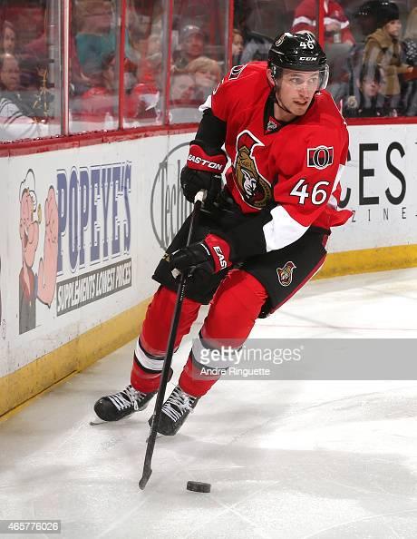 Patrick Wiercioch of the Ottawa Senators skates against the Calgary Flames at Canadian Tire Centre on March 8 2015 in Ottawa Ontario Canada