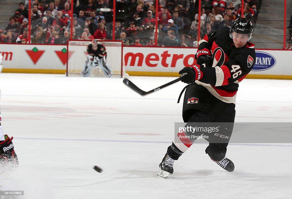 Patrick Wiercioch of the Ottawa Senators skates against the Chicago Blackhawks at Canadian Tire Centre on March 28 2014 in Ottawa Ontario Canada