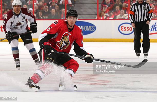 Patrick Wiercioch of the Ottawa Senators skates against the Colorado Avalanche at Canadian Tire Centre on October 16 2014 in Ottawa Ontario Canada