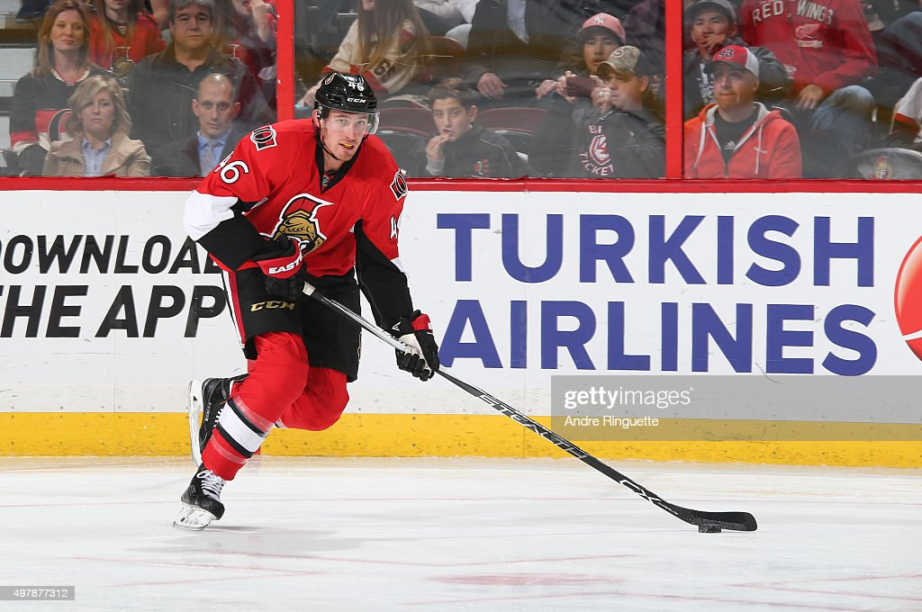 Patrick Wiercioch of the Ottawa Senators skates against the Detroit Red Wings at Canadian Tire Centre on November 16 2015 in Ottawa Ontario Canada