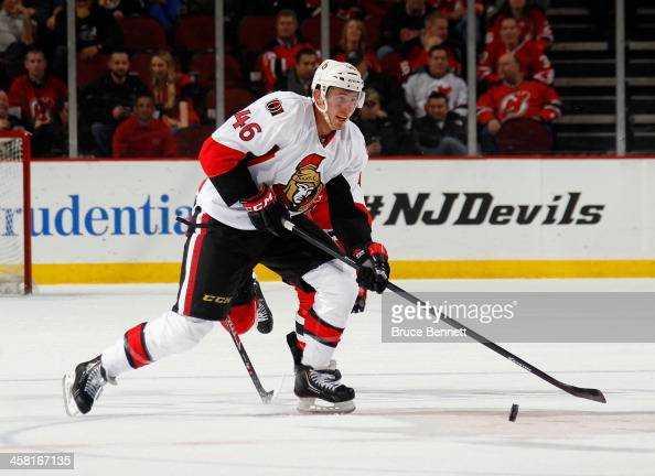 Patrick Wiercioch of the Ottawa Senators skates against the New Jersey Devils at the Prudential Center on December 18 2013 in Newark New Jersey The...
