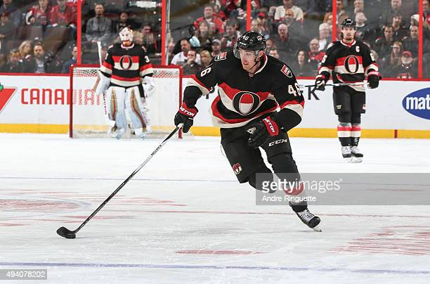 Patrick Wiercioch of the Ottawa Senators skates against the New Jersey Devils at Canadian Tire Centre on October 22 2015 in Ottawa Ontario Canada