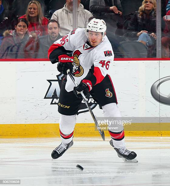 Patrick Wiercioch of the Ottawa Senators skates against the New Jersey Devils at the Prudential Center on January 21 2016 in Newark New Jersey The...