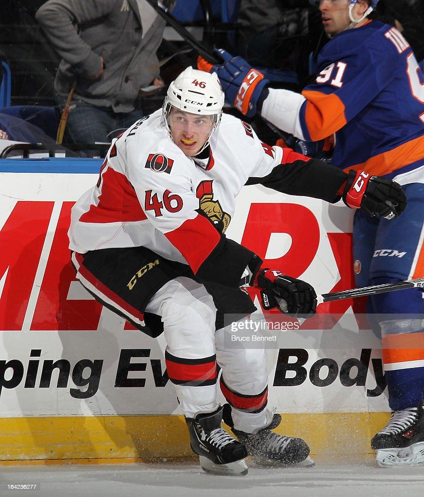 Patrick Wiercioch #46 of the Ottawa Senators skates against the New York Islanders at the Nassau Veterans Memorial Coliseum on March 19, 2013 in Uniondale, New York.