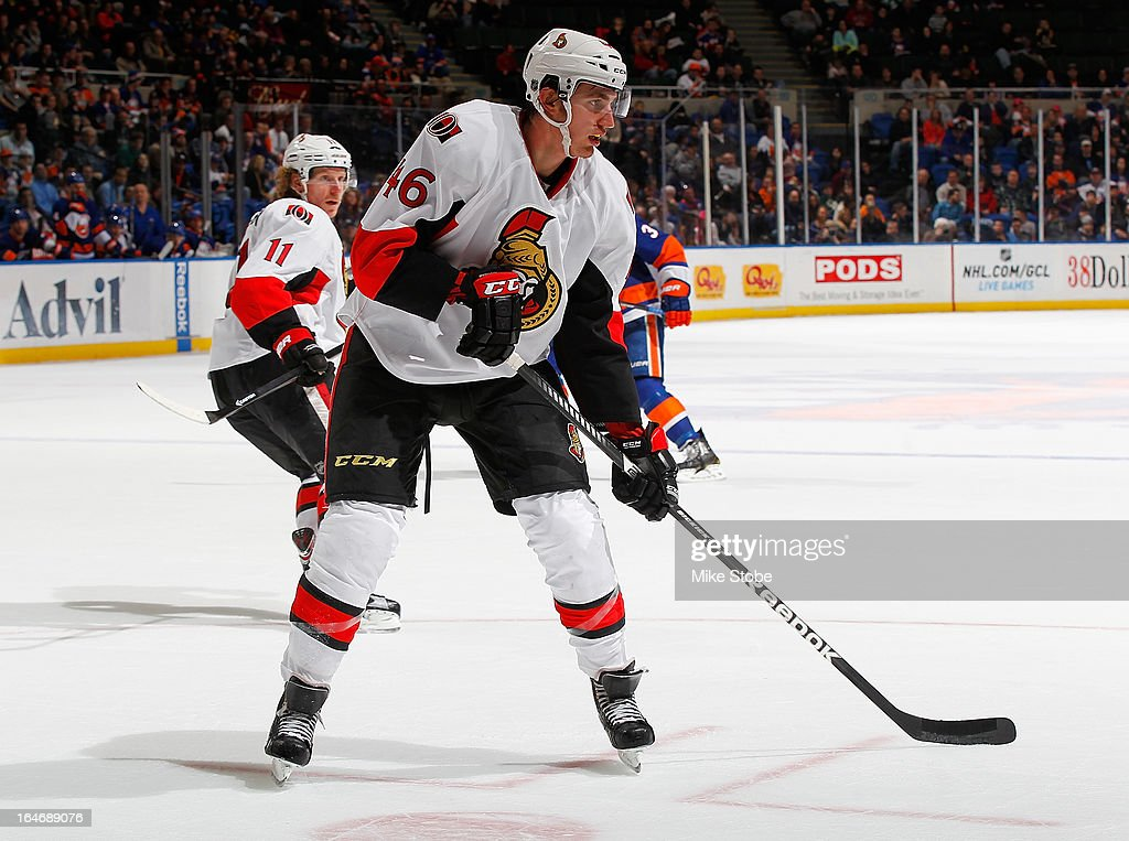 Patrick Wiercioch #46 of the Ottawa Senators skates against the New York Islanders at Nassau Veterans Memorial Coliseum on March 19, 2013 in Uniondale, New York. The Senators defeated the Islanders 5-3.