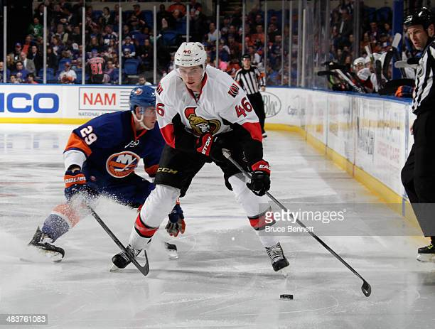 Patrick Wiercioch of the Ottawa Senators skates against the New York Islanders at the Nassau Veterans Memorial Coliseum on April 8 2014 in Uniondale...