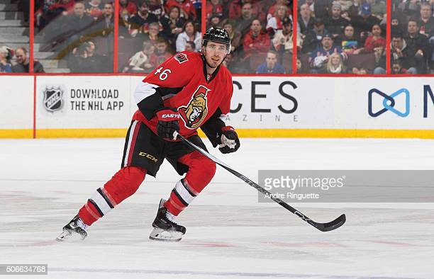 Patrick Wiercioch of the Ottawa Senators skates against the New York Rangers at Canadian Tire Centre on January 24 2016 in Ottawa Ontario Canada