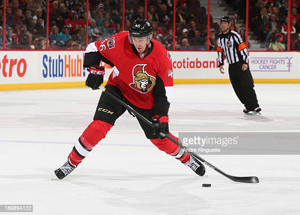 Patrick Wiercioch of the Ottawa Senators skates against the San Jose Sharks at Canadian Tire Centre on October 27 2013 in Ottawa Ontario Canada
