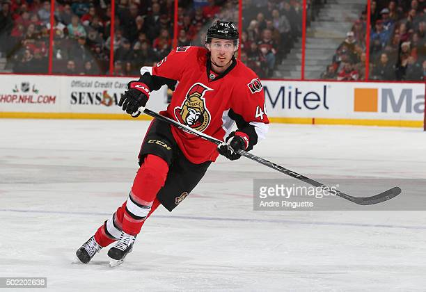 Patrick Wiercioch of the Ottawa Senators skates against the San Jose Sharks at Canadian Tire Centre on December 18 2015 in Ottawa Ontario Canada