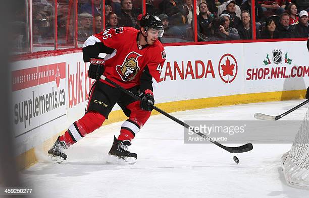 Patrick Wiercioch of the Ottawa Senators skates against the St Louis Blues at Canadian Tire Centre on December 16 2013 in Ottawa Ontario Canada