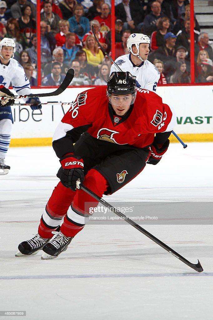 Patrick Wiercioch of the Ottawa Senators skates against the Toronto Maple Leafs on April 12 2014 at Canadian Tire Centre in Ottawa Ontario Canada