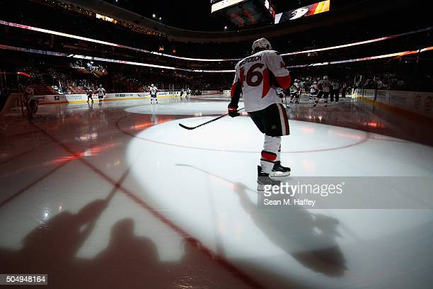 Patrick Wiercioch of the Ottawa Senators skates during introductions prior to a game against the Anaheim Ducks at Honda Center on January 13 2016 in...
