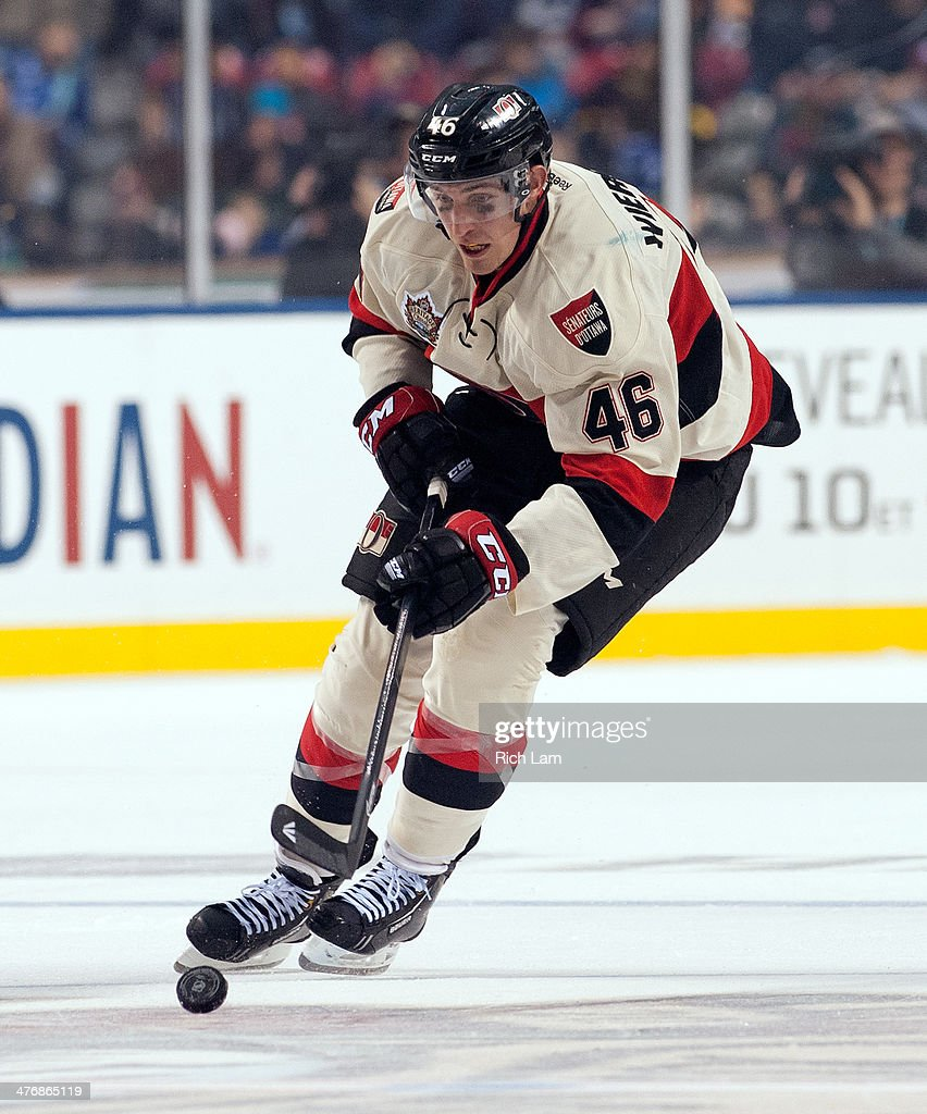 Patrick Wiercioch of the Ottawa Senators skates with the puck during NHL action against the Vancouver Canucks on March 02 2014 at the 2014 Tim...