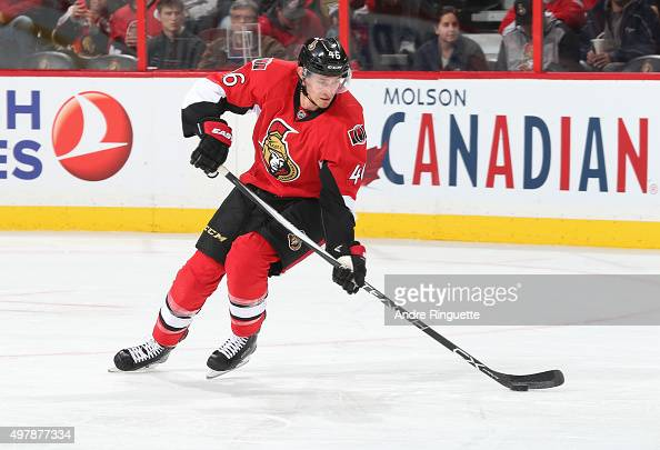 Patrick Wiercioch of the Ottawa Senators stickhandles the puck against the Detroit Red Wings at Canadian Tire Centre on November 16 2015 in Ottawa...